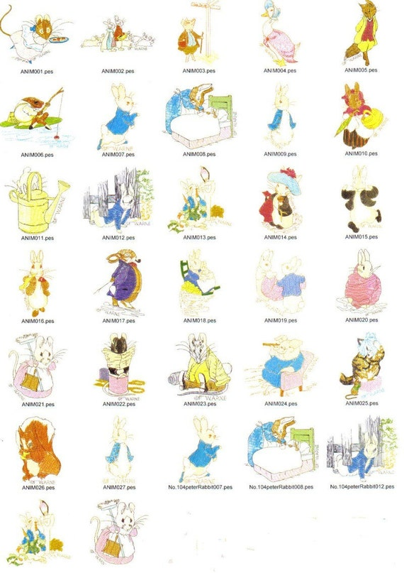 Items similar to peter rabbit machine embroidery designs