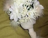 Stunning White and Cream Silk Bridal Bouquet with Feather Puffs