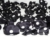 Black and White Polka Dot Flower Petals for Scattering on Tables Beds Floors