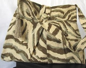 Fabric Purse, Pleated, olive green print