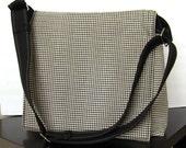 Fabric Messenger bag, hounds tooth cotton