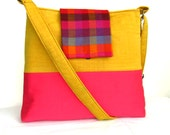 Color block fabric Messenger bag in bright yellow and pink