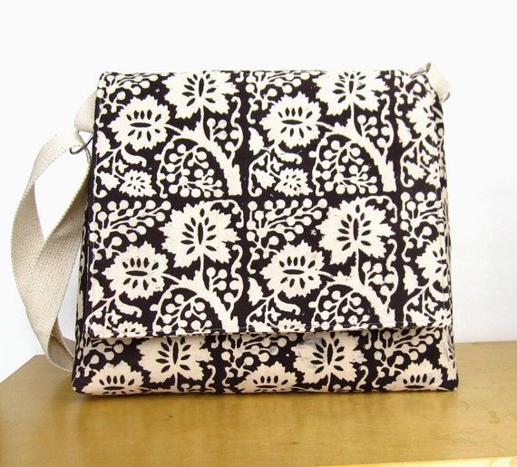 FREE SHIP Fabric Messenger, hand block printed cotton