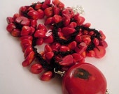 Stunning Red Bamboo Coral Pendant Necklace on Crochet Coral Chain.