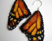 Monarch Butterfly Wing Earrings - square stitch beadwork