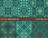 Vintage Damask - Digital Paper Pack (Set of 6 Papers) Printable Scrapbook Paper Patterns Set - 100023A