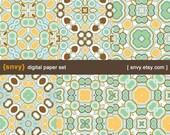 Retro Era - Digital Paper Pack (Set of 6 Papers) Printable Scrapbook Paper Patterns Set - 100024A
