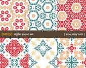 Victorian - Digital Paper Pack (Set of 6 Papers) Printable Scrapbook Paper Patterns Set - 100032A