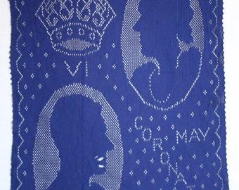British Royal Souvenir - King George VI Coronation 2 Silk Knit hankies