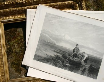 Seashore Print The Prawn Fishers 1849 Antique Steel Engraving