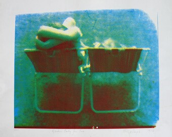 Green Screenprint Lovers in Garden Chair Limited Edition 1970s Signed Print