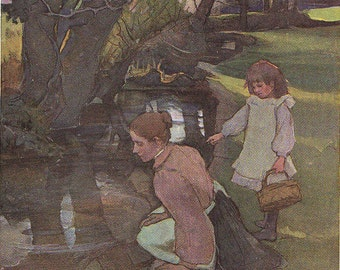 By the Brook Vintage Reproduction of watercolour by Mrs Stanhope Forbes