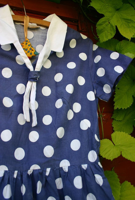 Polka Dot Cotton Dress from late 50s/ Sixties