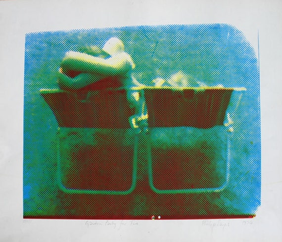 Screenprint Lovers in Garden Chair Limited Edition 1970s