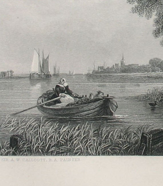Antique Steel Engraving to frame - A Dutch Ferry