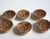6 Ceramic buttons orange metal green and rust red flecks handmade