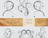 INSTANT DOWNLOAD - Digital Clip Art - Digital Flourish Swirl Digital Flourishes Swirls Hearts Clip Art Clipart Black and White