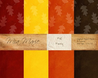 Fall Fancy - Digital Paper Pack - 8 12 x 12 digital printable papers - 12 x 12 jpeg - Personal and Commercial Use