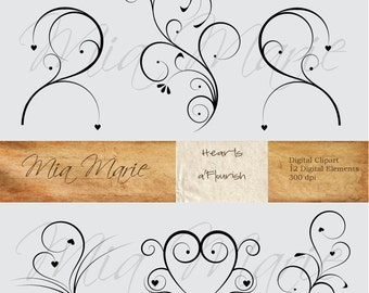 INSTANT DOWNLOAD - Digital Clip Art - Digital Flourish Swirl Digital Flourishes Swirls Hearts Clip Art Clipart Black and White