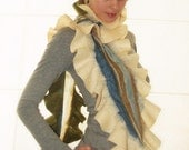 """SALE....Nuno felted wool scarf-shawl  """"Cream with olive way"""", multicolor wonderland, ruffle style, ready to ship, best mother day gift idea, free gift wrap, from Europe with love"""