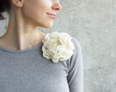 White flower brooch eco friendly soft ivory cream free gift wrap Weddings bridesmaid mothers day gift idea for her, spring fashion