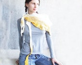 Nuno felted Baktus Scarf, Milk yellow, triangular, OOAK, ready to ship eco friendly  from Europe with love