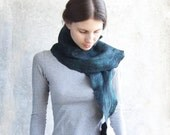 SALE... Felted black long scarf with dark green patina, cobalt, free gift wrap, eco friendly from Europe with love, unisex