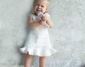 Nuno felting white ivory baby dress eco friendly super soft ready to ship for birthday weddings party OOAK 6-12m gift idea