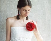 Red rose brooch felted wool soft flower Wedding bridesmaid gift idea mothers day gift idea spring fashion