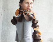 SALE.... Nuno felted scarf - shawl brown peach wonderland ruffle style ready to ship free gift wrap theteam winter