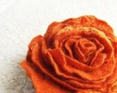 Orange rose brooch felted eco friendly pumpkin soft flower Wedding bridesmaid fashion winter fashion