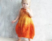 Reserved item for Olena.... Nuno felted baby dress orange pumpkin for party girl luxury gift idea for 1st birthday easter spring fashion