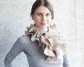 SALE..... Nuno felted scarf silver polka dot grey oatmeal ruffle style natural eco friendly OOAK  holiday gift under 75 100