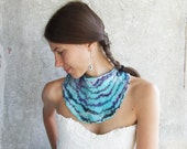 Aqua felt necklace, felted teal wool bib collar, turquoise aquamarine neck piece, something blue weddings cyan holiday gift under 50