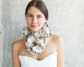 Wool scarf white grey ruffle style felted monohrom collar free gift wrap holiday gift under 50