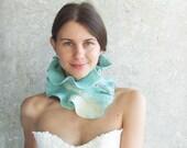 SALE.... Wool scarf teal ruffle blue mint ruffle felted collar  gift idea spring fashion aquamarine