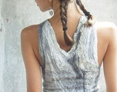 Felted grey tank top, OOAK, luxury holiday gift, free shipping Etsy
