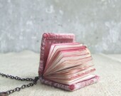 Mini book necklace steampunk journal jewelry. Valentines day gift felted pink mini felt notebook, shabby chic paper OOAK