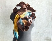 Felted scarf  brown turquoise yellow mustard, free gift wrap, wool ruffles, gift idea Valentines day for her mom girl teal spring fashion