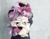 SALE... Nuno felted wool scarf shawl lilac fuchsia and creamy ruffle OOAK, oht spring fashion for mom mothers day