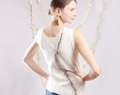 Special listing for Oksana....  White wool top, felted clothing, eco-friendly spring fashion neutral felted tshirt size  M medium