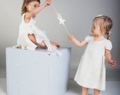 White dress for flower girl silk bow felted baby dress eco friendly soft 12m 2 3T gift idea for kids birthday neutral
