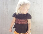 Winter Sale... Brown top for girl baby tshirt felted wool super soft chocolate, 1-2 year 12M - 2T, gift idea for birthday