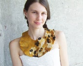 Mustard  felt necklace, felted wool bib collar, yellow brown neck piece, prom bridesmaid gift idea summer fashion oht