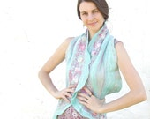 Mint wool and pink silk scarf shawl, aqua fall autumn fashion nuno felting oht