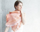 Coral felted scarf shawl, peach pale pink candy salmon wool winter fashion ruffle felting fall autumn