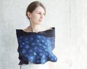 Blue and black felted scarf shawl, navy blue wool winter fashion felting oht fall autumn