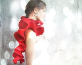 Red scarf felted wool ruffle red weddings for bridesmaid valentines day gift idea winter fashion