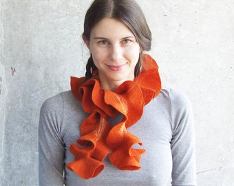 Christmas Gift For Wife, Wool Cowl Scarf, Circle Scarf, Wool Shawl Wrap, Orange Ruffle Scarf, Fashion Accessories, Rustic Scarf, Folk Scarf