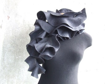 Felted scarf  grey graphite, wool ruffles, gift idea Valentines day for her mom girl gray winter fashion